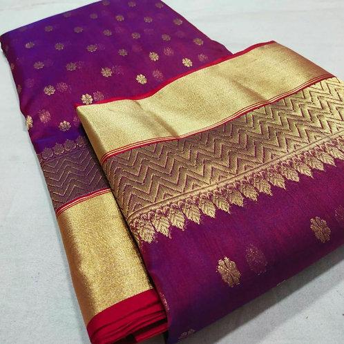 Chanderi Katan Silk Handloom Saree In Plum Colour With Gold Zari Weaving