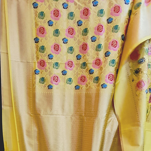 Banarsi Katan Silk Saree In Lemon Yellow Colour With Gold Zari Border