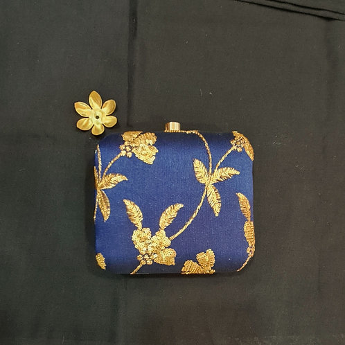 A Handy Clutch Bag In Navy Blue Colour With Zardozi Work