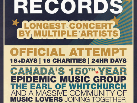 """GUINNESS WORLD RECORD FOR THE """"LONGEST CONCERT EVER"""" HELD IN ONTARIO NEXT WEEKEND"""