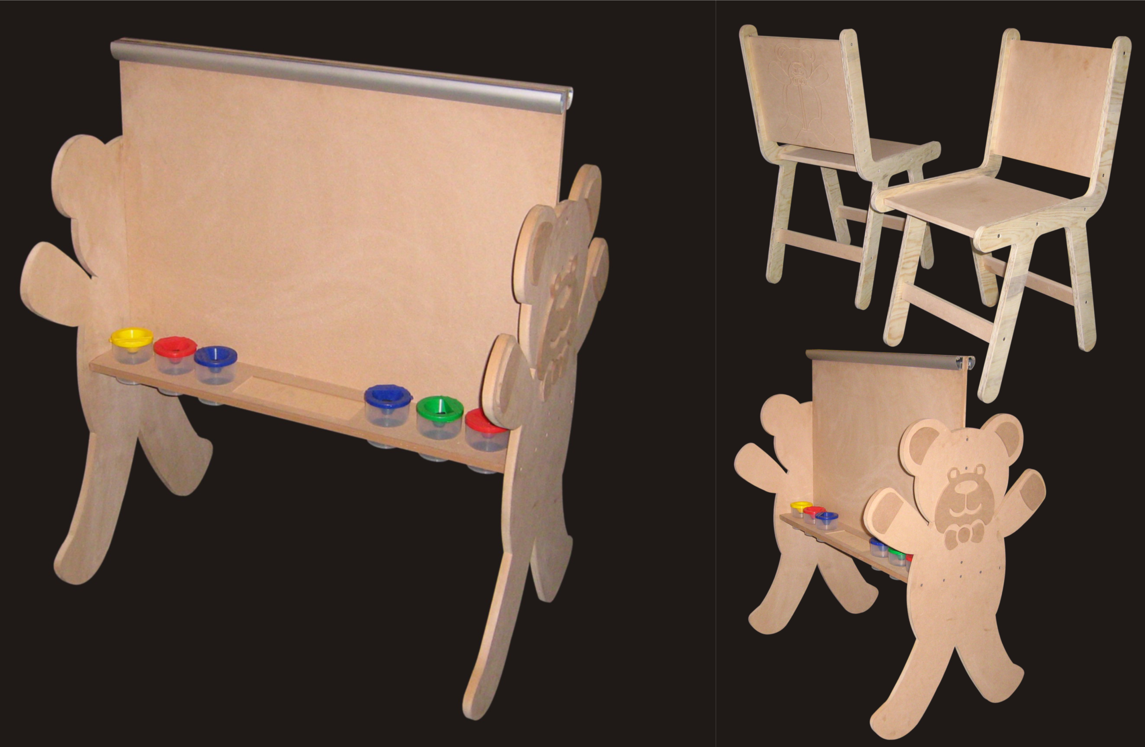 Mdf Kids Blackboard & Chairs