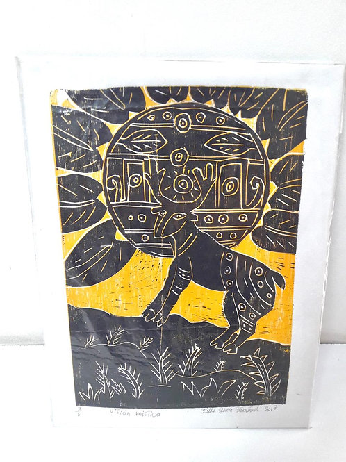 Woodcut on cardboard