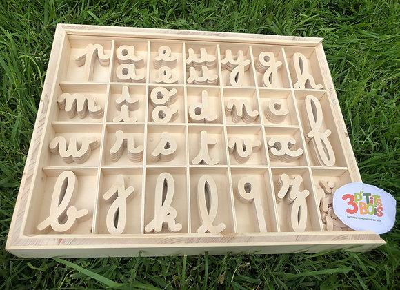 Alphabet mobile police cursive