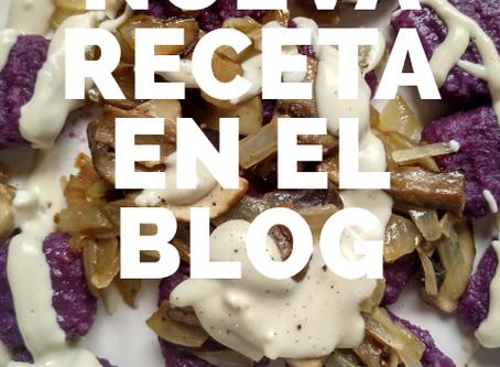 Ñoquis de boniato morado con salsa cremosa de queso vegano ( receta sin gluten -  vegana )