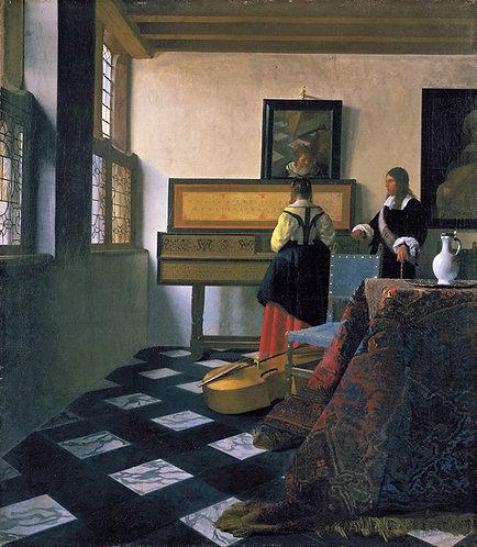 Johannes Vermeer : De muziekles 104x120 cm