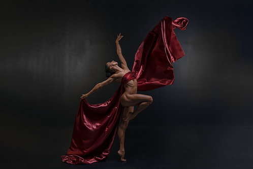 Foto op dibond 120x180cm met ophangsysteem : Mouvement in Silk