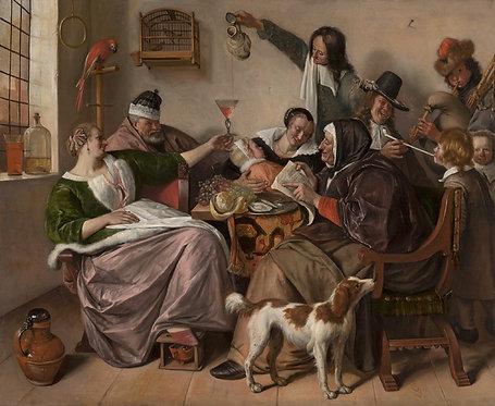 Jan Steen : Soo voer gesongen,soo na gepepen 120x94 cm