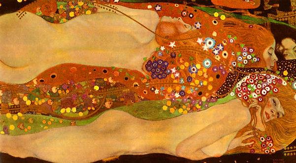 Gustav Klimt : Wasserschlangen 120x66 cm