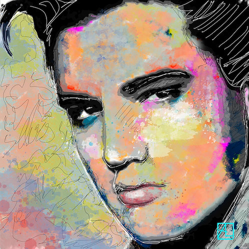 Elvis is here formaat 100x100cm - Plexibond afwerking