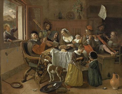 Jan Steen : Het vrolijke huisgezin 120x98 cm