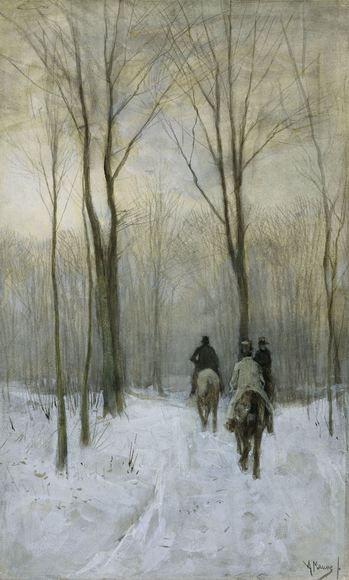 Anton Mauve : Ruiters in d   Anton Mauve Ruiters in de sneeuw in het Haagse Bos