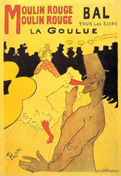 Henri de Toulouse Lautrec : Moulin Rouge La Goulue 74x120 cm