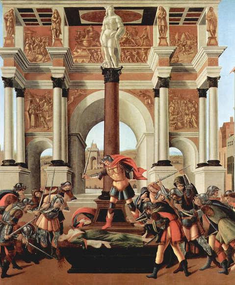 Sandro Botticelli : Dood van Lucretia 99x120 cm