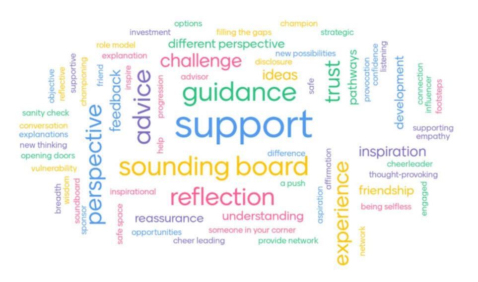 Word cloud including words such as: support, guidance, reflection, perspective, advice, sounding board, trust, challenge, experience