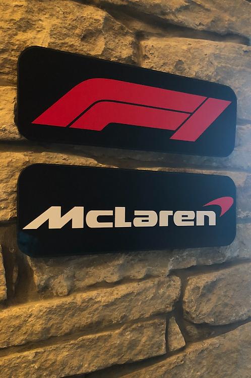 F1 & McLaren Handmade Wooden Wall Logo