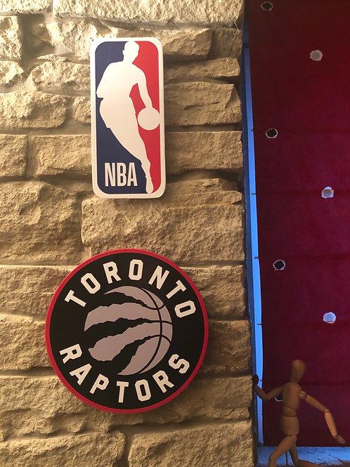 imake NBA Toronto Raptors & NBA League Wooden Wall Badge