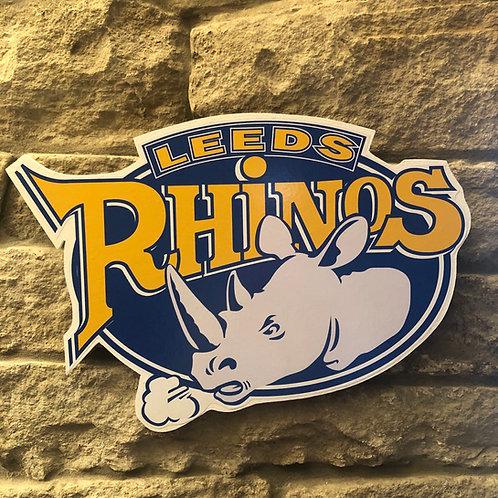 Leeds Rhinos RL Wooden Wall Badge