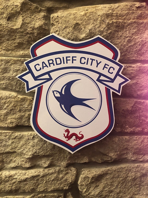 imake Cardiff City FC Wooden Wall Badge