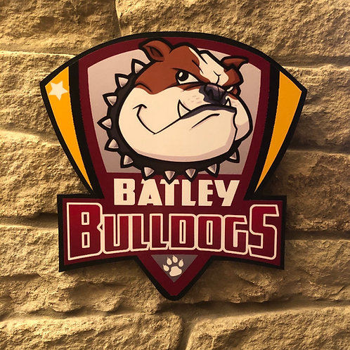 imake Batley Bulldogs RL Wooden wall badge