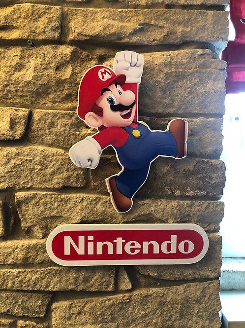 Handmade Wooden Mario & Nintendo Logo Wall Set!