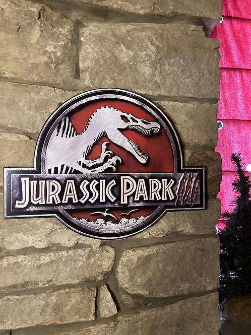 Jurassic Park 3 Wooden Wall Badge
