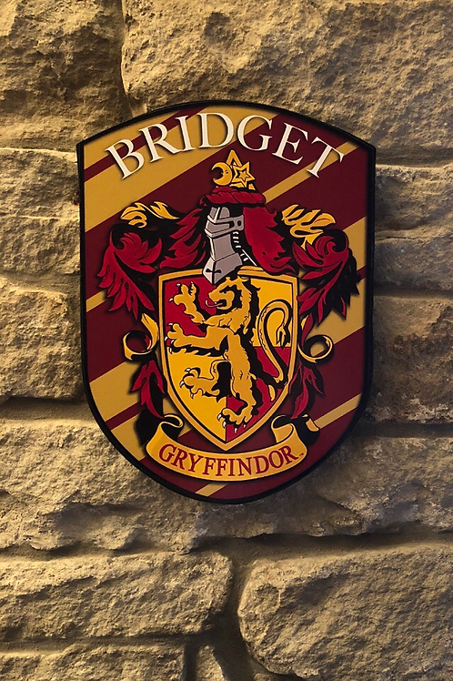 Personalised Harry Potter Gryffindor House crest shield