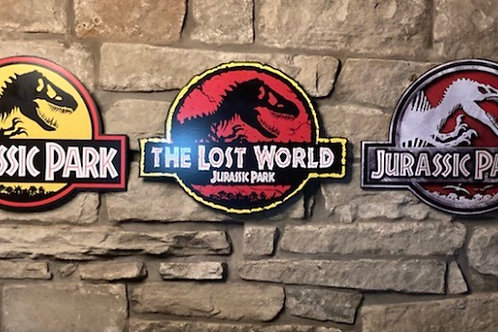 Jurassic Park Trilogy Bundle Wooden Wall Badges
