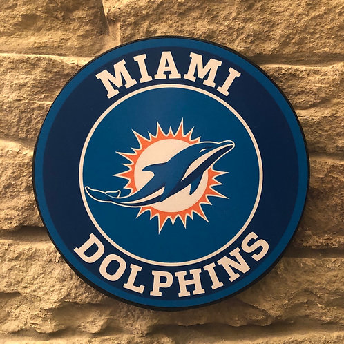 imake NFL Miami Dolphin's Wooden Wall Badge