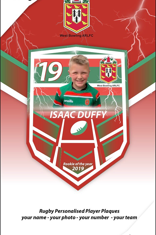 West Bowling ARLFC Personalised Player Plaques