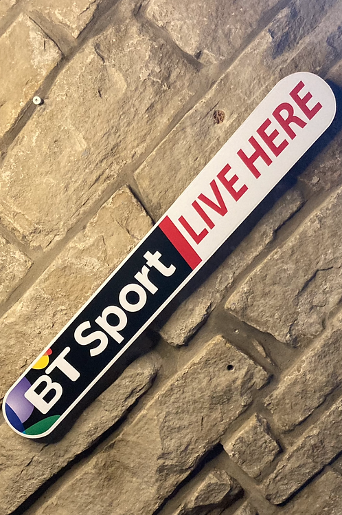 """BT Sports """"LIVE HERE"""" wooden sign"""