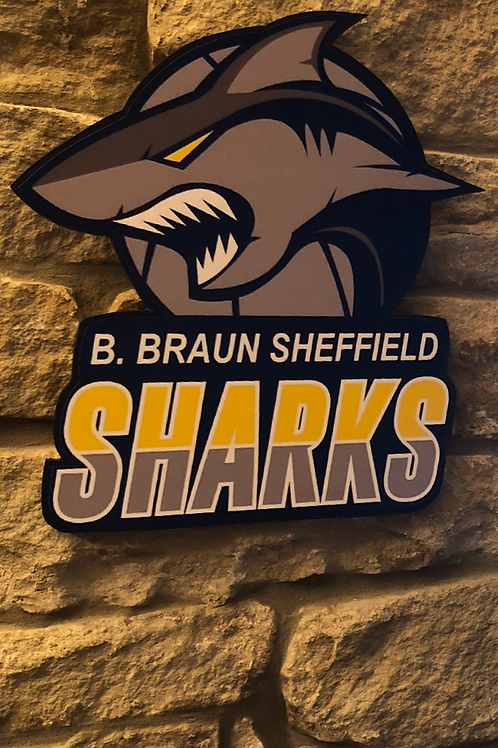 imake BBL Sheffield Sharks Wooden Wall Badge