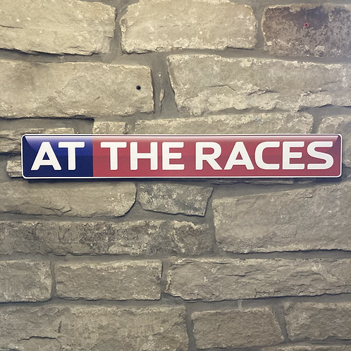 Retro AT THE RACES Wooden Wall Sign