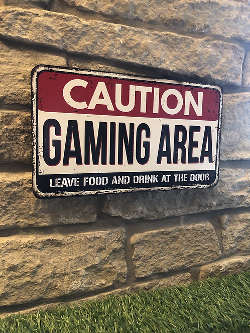 Caution Gaming Wooden Wall Plaque