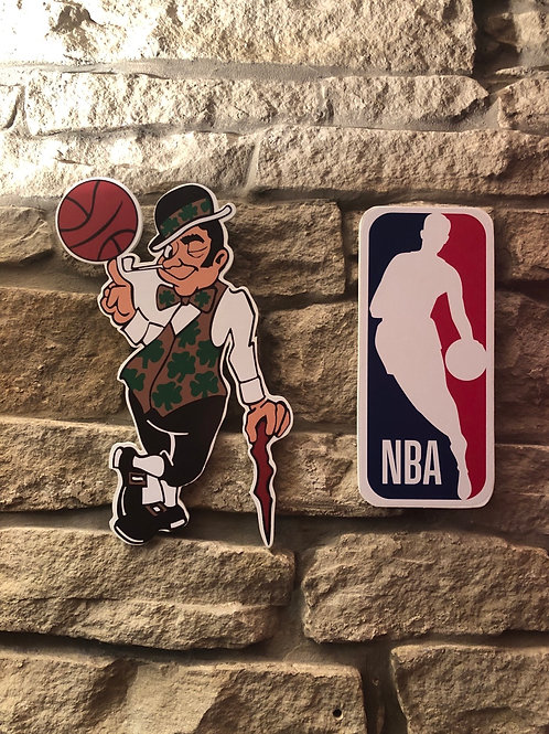 imake NBA Boston Celtics Leprechaun & NBA League Wooden Wall Badge