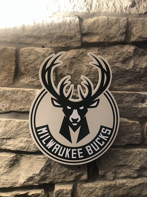 imake NBA Milwaukee Bucks Wooden Wall Badge