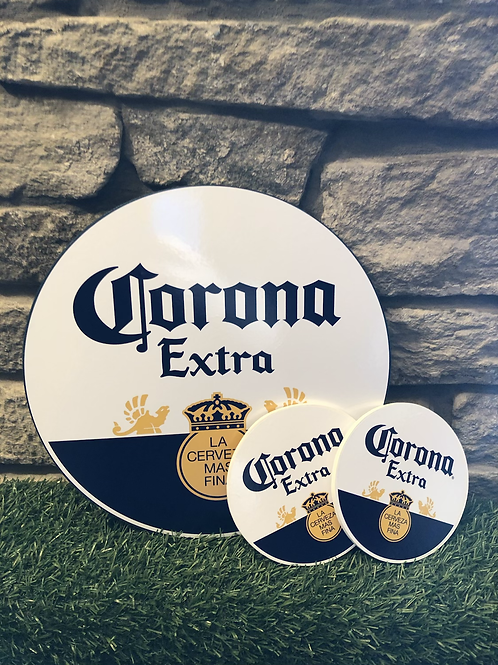 imake Corona Wooden Wall Badge with 2  FREE MATCHING COASTER SET