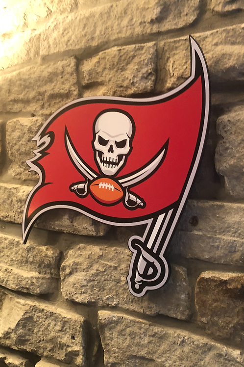 "imake NFL Tampa Bay Buccaneers ""FLAG"" Wooden wall badge"