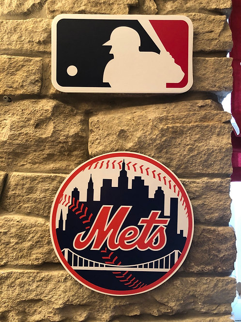 imake MLB & Mets Wooden Wall Badge