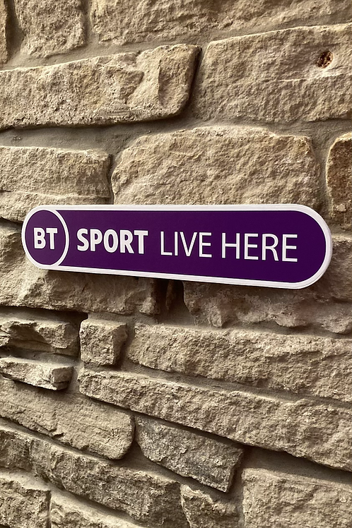 """NEW Design BT Sports """"LIVE HERE"""" wooden sign"""