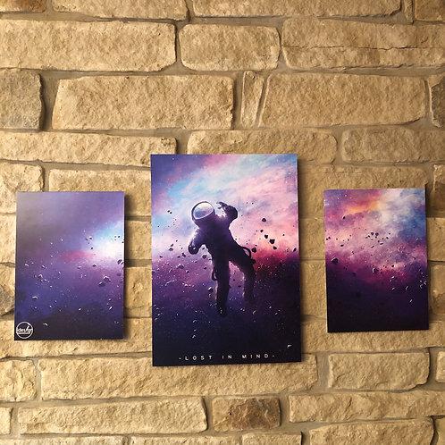"idesign 3 Panel Foamex Board designs.. ""lost in mind"" SpaceMan mural"