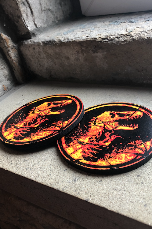 "Jurassic Park ""Burning"" Wooden Coasters"