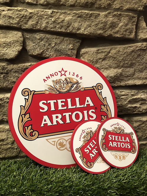 imake STELLA ARTOIS Wooden Wall Badge with 2  FREE MATCHING COASTER SET