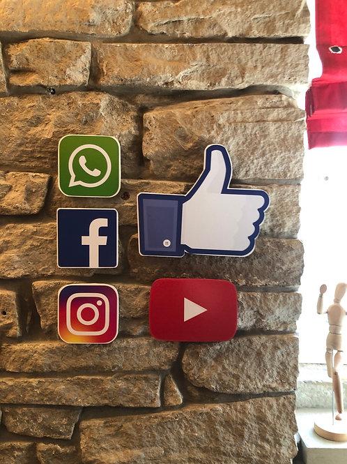 Handmade Wooden Social Media Logo Pack