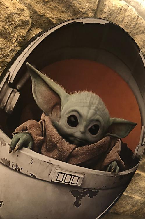 Star Wars; Baby Yoda Pod & Mandalorian Wooden Wall Set