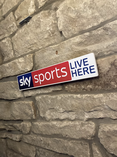 """Sky Sports """"LIVE HERE""""  Network Signage Wooden Wall Sign"""