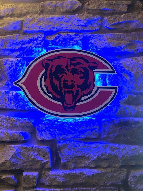 imake Chicago Bears Wooden Wall LIGHT