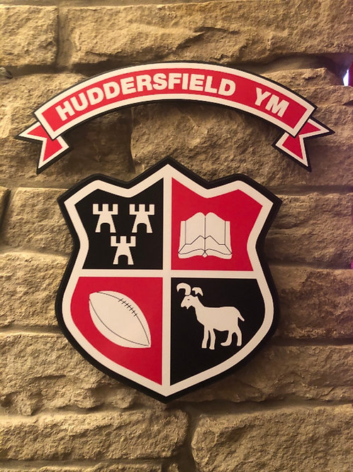 imake Huddersfield YM R.U.F.C Wooden Wall badge