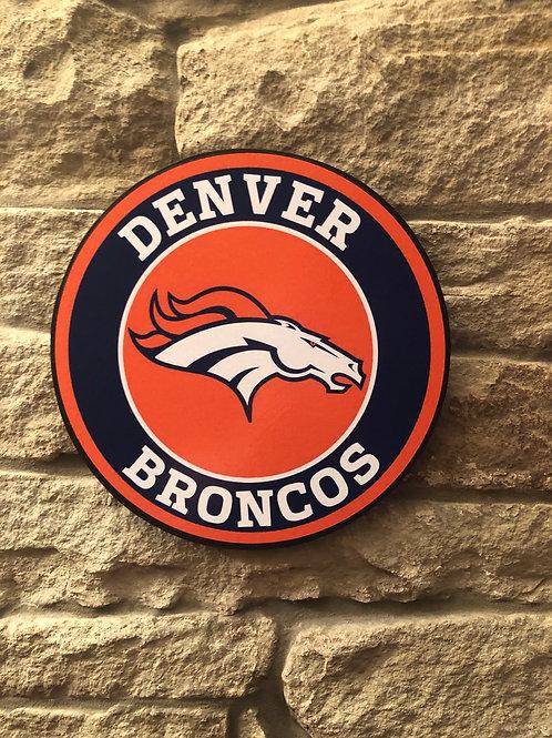 imake NFL Denver Broncos Wooden Wall Badge