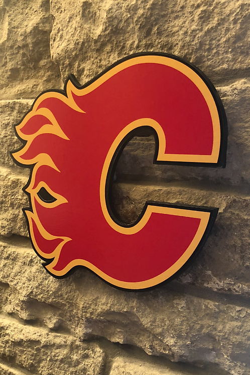 imake NHL Calgary Flames Wooden Wall Badge