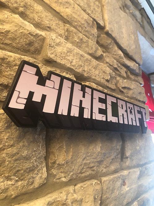 Minecraft Handmade Wooden Wall Logo